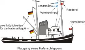 Foto Schiffsmodell Flaggen